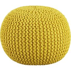 knitted yellow pouf $80 to pair with Pottery Barn rocker. Adds some color and not so matchy matchy!