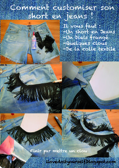 i love do it yourself: DIY un short frangé et Clouté ! DIY studded and fringed short!