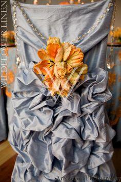 Embroidered Empress Lace Orange & Turquoise Overlay w/ Dupioni Silk Light Blue Underlay; Dupioni Silk Light Blue Diana Chair Cover