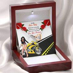 Beautiful Valentine's day gift for sweet wife.i hope you never miss to buy it for your sweet heart Lady Biker, Biker Girl, Happy Valentines Day, Valentine Gifts, Two Hearts, Vintage Motorcycles, Motorcycle Gear, Sport Bikes, Bikers