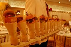Top 8 Catering Trends - Mini Menus! Mini-Burgers, Fries & Soy Shake from Morrell Caterers - mazelmoments.com