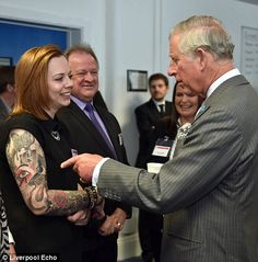 Prince Charles comments on Annabeth Matthews tattoos on his visit to Liverpool today May 14, 2015