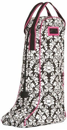 """Equine Couture Damask Boot Bag . $17.95. Tall Boot Bag! Travel in style and protect your boots with this Damask Boot Bag. The attractive black and white damask looks elegant with a pop of color provided by the pink or jade trim. Soft fleece lining on the inside will protect the finish on your boots. Double strap carry handle makes this bag easy to travel with. Measures approximately 25"""" tall. Choose from these popular colors (click on images for a better look):..."""