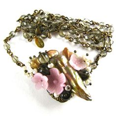 """Freeform """"Bouquet"""" Necklace with Vintage Glass Flowers Czech Glass and Freshwater Pearls """"PRINTEMPS"""" Altered Heirlooms by Nouveau Motley"""
