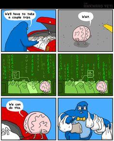 Making two trips just isn't plausible. | Read The Awkward Yeti #comics @ http://www.gocomics.com/the-awkward-yeti/2015/10/13?utm_source=pinterest&utm_medium=socialmarketing&utm_campaign=social | #GoComics #webcomic