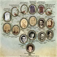 DaVall Family Tree...consistent use of the same oval frame brings a cohesive look to this heritage family tree layout.