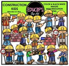 This is a set of kids doing different construction activities and holding various tools such as drill, plans, tool belt, shovel, pick axe, jack hammer and bricklaying. There is a girl and boy version of each graphic.  36 images (18 in color and the same 18 in B&W)  This set contains all of the images shown.