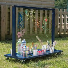 How to Build an Acrylic Painting Easel – DIY projects for everyone! Outdoor Learning Spaces, Kids Outdoor Play, Outdoor Play Areas, Kids Play Area, Outdoor Playground, Backyard For Kids, Outdoor Art, Backyard Play Spaces, Backyard Games