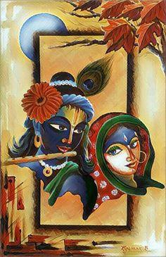 By Reena kapoor 💕 Krishna Hindu, Radha Krishna Love Quotes, Radha Krishna Images, Krishna Photos, Radhe Krishna, Lord Krishna, Cute Paintings, Indian Art Paintings, Krishna Painting