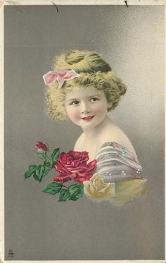 young girl faces left, looks front & up, red, & yellow roses with red bud as corsage