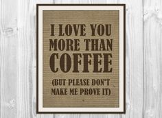 Kitchen Quote Print  Burlap Coffee Bean Bag Art  I by BySamantha, $9.00