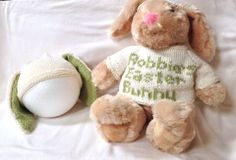 knitted childs hat, personalized bunny sweater and hat for stuffed bunny ONLY. Bunny not included.