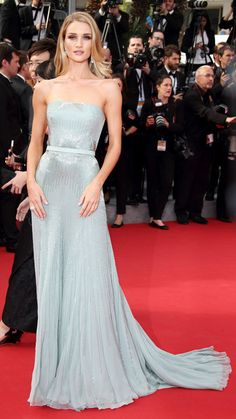 Cannes 2014: Rosie Huntington- Whiteley in Gucci Première soft jade silk chiffon strapless gown which featured silver beading that cascaded down the skirt.
