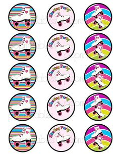 2 Roller Skating  Cupcake Toppers  Decorative by PopPrintables, $3.50