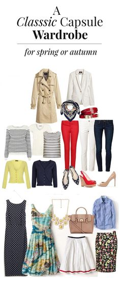 a classic capsule wardrobe that will work for spring or early autumn