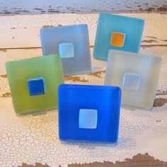 Square Beach Decor Glass Tile Cabinet Knob Drawer by beachyrustica, $11.75