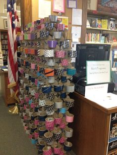 Clever duct tape rolls divide the space at Floyd Memorial
