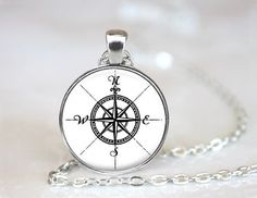 Handmade Necklace - Black And White Compass Rose - GE - 11 Main  #streetstyle #compass