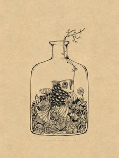 #ILLUSTRATION Aquarium in Bottle by Sithzam
