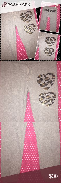 """RARE! VS PINK jogger Crop Cheetah Sequin pants XS RARE! Victoria's Secret  VS PINK collection  Sz: XS inseam: 29"""" Gray w/cheetah/leopard sequin graphics  Condition: used condition, shows minimal wash/wear/fuzzies Smoke/pet free  hole/stain free I ❤️to bundle PINK Victoria's Secret Pants Track Pants & Joggers"""