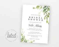 Bridal Shower Invitation Template Greenery Bridal Shower | Etsy Bachelorette Party Invitations, Bridal Shower Invitations, Digital Invitations, Printable Invitations, Electronic Save The Date, Get The Party Started, Wedding Templates, Greenery, Stationery