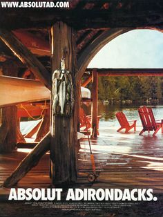 "AB077 - ""Absolut Adirondacks"" Fish hanging on dock in shape of bottle"