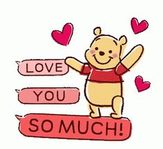 Animated Winnie the Pooh Speech Balloons sticker Love You Gif, Love You Images, Cute Love Gif, Love You So Much, Disney Winnie The Pooh, Winnie The Pooh Quotes, Pooh Bear, Tigger, Eeyore