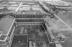 Aerial view of Attica Prison in NY, the walls are huge, creepy when driving by