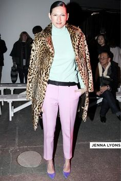 Jenna Lyons Fashion Week  Genius color mix w/ leopard