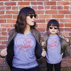 Girl Power graphic tee for mama & little // Savage Seeds // made in the USA Mommy And Me Shirt, Mommy And Me Outfits, Mother Daughter Outfits, Mom Daughter, Mommy And Me Photo Shoot, Grey Tee, Matching Outfits, Matching Shirts, Sons