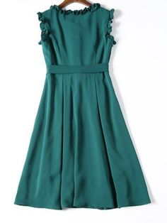 Green Crew Neck Girly Sleeveless Bow Midi Dress