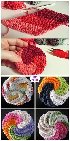 Crochet Spiral Scrubbies Free Pattern-Video Tutorial 2019 Crochet Spiral Scrubbies Free Crochet Pattern Video The post Crochet Spiral Scrubbies Free Pattern-Video Tutorial 2019 appeared first on Yarn ideas. Crochet Faces, Crochet Gifts, Crochet Yarn, Crochet Stitches, Free Crochet, Crochet Patterns, Spiral Crochet Pattern, Crochet Craft Fair, Crochet Hot Pads