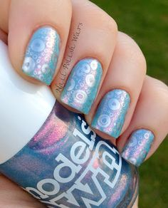 China Glaze Kinetic Candy, Models Own Indian Ocean, Mash-50 stamping with Barry M Silver Foil