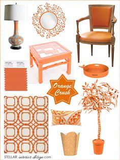 Interior Design Boards, Orange Home Décor, Layla Grayce, Online Interior Design Services, e-design, e-decorating, Holiday Décor