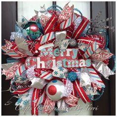 WHIMISCAL Christmas Wreath - Merry Christmas Wreath - Aqua Red and White Wreath - Deco Mesh Wreath - Door Decor - Ready To Go by CreatedByTerri on Etsy