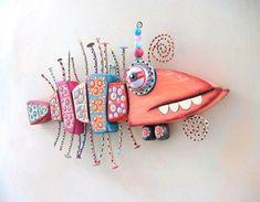 Fish Bones, Original Found Object Wall Art, Wood Carving, by Fig Jam Studio Fabiana Fish Wall Art, Fish Art, Fish Sculpture, Wall Sculptures, Art Fantaisiste, Wooden Fish, Found Object Art, Paperclay, Driftwood Art