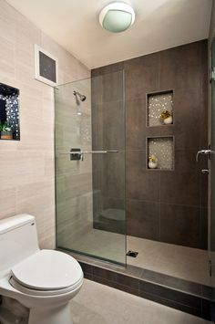 single contrasting wall & curb....niche backing ==> shower floor, seat top/edge,