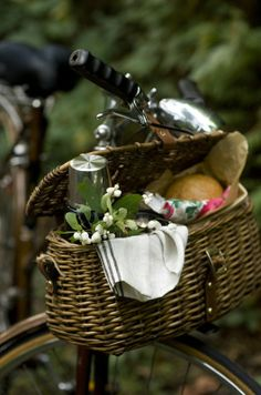 Lunch basket on bicycle...great family outing, a picnic at the park