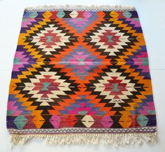 Sukan / VINTAGE Turkish Kilim Rug Carpet - handwoven kilim rug - antique kilim rug - decorative kilim - natural wool. $390.00, via Etsy.