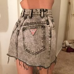 Guess high waisted skirt grey denim mini skirt Guess Skirts Mini