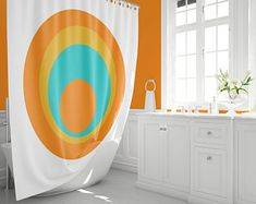 Etsy :: Your place to buy and sell all things handmade Mid Century Modern Rugs, Pad Design, Curtains, Retro Shower Curtain, Modern Prints, Modern Shower, Orange Shower Curtain, Modern Area Rugs, Retro Pillows
