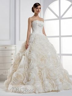 A-line Strapless Ball Gown Floor-length Wedding Dress