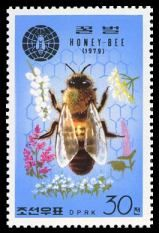 This colorful stamp was issued by the government of North Korea in 1979 to commemorate the Second International Congress of Apiculture held in New Delhi, India.