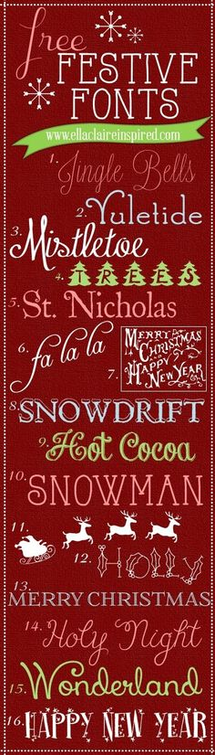 Fabulous Free Festive Christmas Fonts I am trying to get most of my holiday projects out of the way before this little one makes his debut. I love pap… - New Deko Sites Christmas Fonts, Noel Christmas, Christmas Printables, Christmas Typography, Christmas Projects, Christmas Chalkboard, Winter Christmas, Fancy Fonts, Cool Fonts