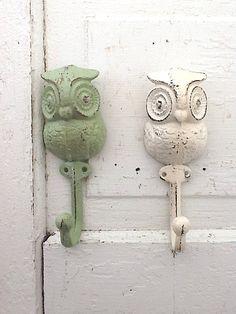 Cast Iron Owl Hook, Wall Decor, Farmhouse Style, Creamy White, Summer Aqua, Melon Green. $11.95, via Etsy.