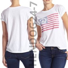 LUCKY BRAND DISTRESSED PEACE FLAG WOMEN'S SCOOP NECK SHORT SLEEVES TEE SZ XS-XL #LuckyBrand #GraphicTee