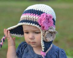 girls hat little girls hat earflap hat navy por VioletandSassafras