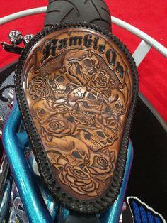 Amazing detail and leatherwork in this seat JailBird Customs.