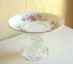 upcycle old china dinnerware | ... Dish Upcycled Vintage White Pink Green Floral Bone China Saucer