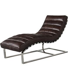 This Mies van der Rohe inspired chaise lounge will complete your modern home and collection. This classic design has an elegant curved base and channeled Italian leather body. Classic ergonomic design. Stainless steel frame with a polished silver finish. A contemporary piece that will blend well with most home decor aesthetics